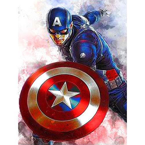 Kit de pintura de diamantes de imitación de superhéroe kriptoniano para adultos, en 5D para manualidades, juego de regalo con piedras de cristal de diamantes de imitación, 30x40 cm Capitán América