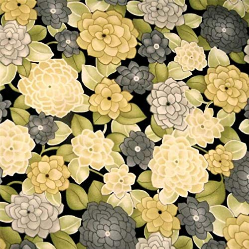 JOELLE STORE Peony Floral Print, Pear Green, Jasmine Yellow & Charcoal, facbic cotton, By the Half-Yard JOELLE STORE