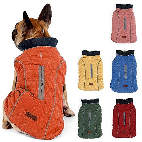 TFENG Reflektierend Hundejacke für Hunde, Hundemantel Warm gepolstert Puffer Weste Welpen Regenmantel mit Fleece (Orange, Größe S)