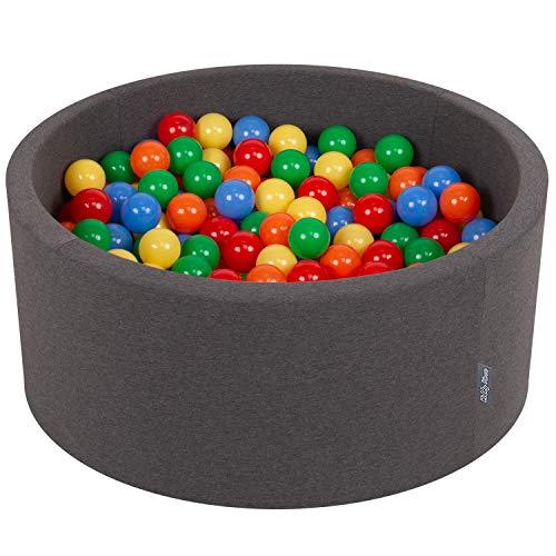 KiddyMoon Bällebad 90X40cm/300 Bälle ∅ 7Cm Bällepool Mit Bunten Bällen Für Babys Kinder Rund, Dunkelgrau:Gelb/Grün/Blau/Rot/Orange