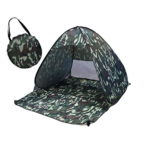 Qoge Yang faltbare Freies bauen Automatische Schnell Geschwindigkeit öffnen Outdoor-Camping-Strand-Zelt mit Tragetasche for 2 Erwachsene oder 3 Kinder Nutzung, Größe: 1.65x1.5x1.1m (Camouflage) QiuGe