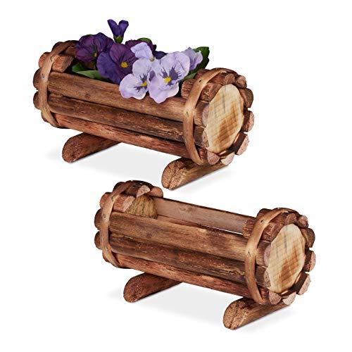 Relaxdays Pflanzengefäß, geflammtes Holz, 2 Stück, Gartendeko, halbes Blumenfass, Vintage Design, HBT: 11x20x9 cm, Natur
