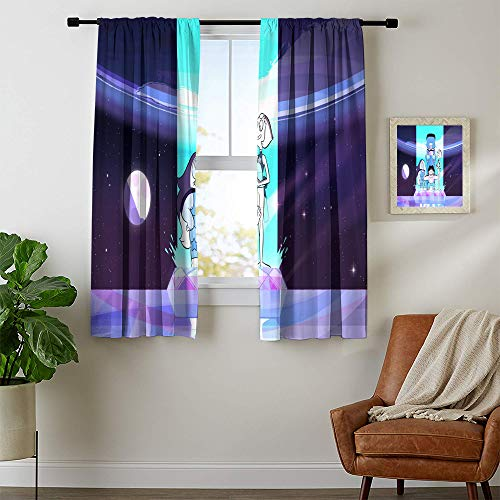 Solid RodPocketWindowCurtain Steven Universe Energy Efficiency Curtains Block out light and noise W42 x L72 Machine Washable
