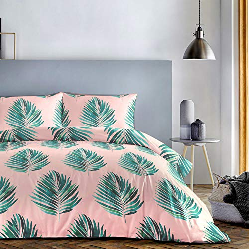 Pack Contents: 1 x King Size Duvet Cover and matching 2 x Pillowcases Two, 52% Polyester / 48% Cotton, Green, King, W230cm x L220cm (Duvet Cover), W48cm x L76cm (Pillow Case)