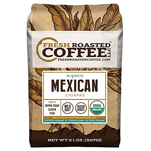Fresh Roasted Coffee LLC, Organic Mexican Chiapas Coffee, Whole Bean, 2 Pound Bag