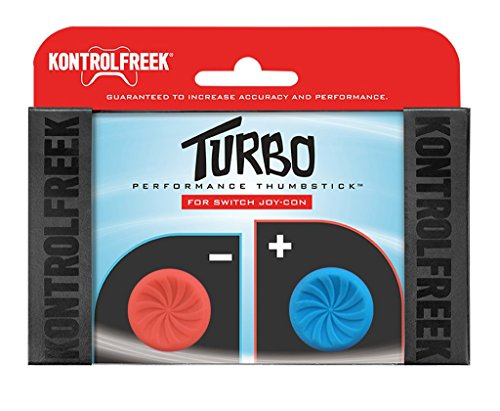 KontrolFreek Turbo Thumb Grips for Nintendo Switch Joy-Con | Performance Thumbsticks | 2 High-Rise Concave | Red/Blue