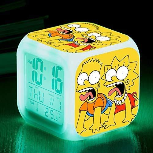 N/J regalo de cumpleaños Los Simpsons Coloridos de Color Ing-Cambio de Reloj de Alarma Led Quad Bell de los Niños Regalo Creativo Pequeño Reloj de Alarma 17,6 Adecuado para los niños