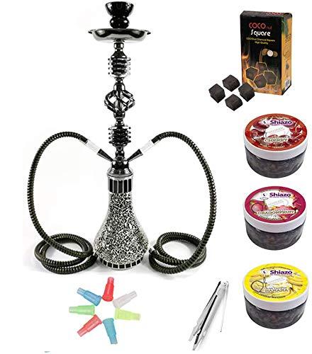 Kertou Shisha 55 cm 2 Manguera Hookah Cachimba Narguile agua tubo vidrio fumar con 3x100gr. piedras, carbón, boquillas