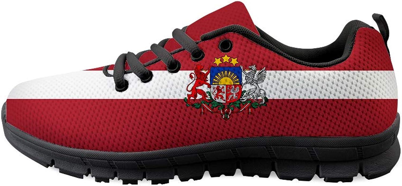 Owaheson Lace-up Sneaker Training shoes Mens Womens Latvia Flag National Emblem