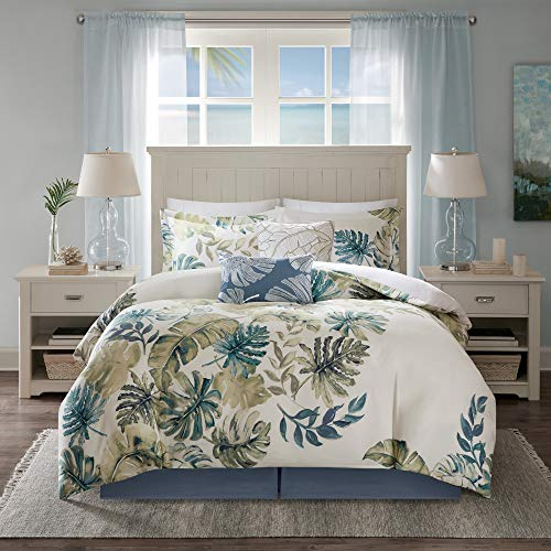 "Harbor House Cozy Cotton Comforter Set-Coastal All Season Down Alternative Casual Bedding with Matching Shams, Decorative Pillows, Full(80""x90""), Monstera Leaf Green 6 Piece"