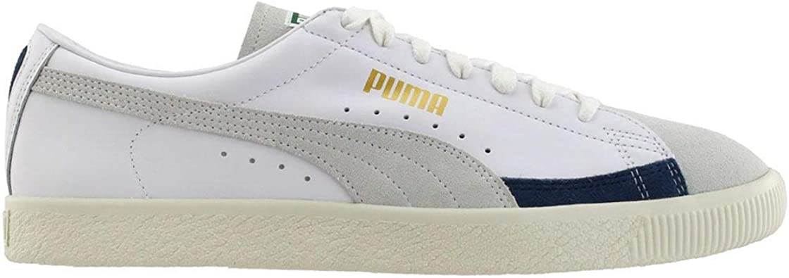 PUMA Mens Basket 90680 L Lace Up Sneakers Shoes Casual - White