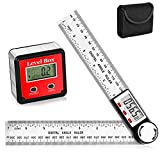 Digital Angle, 2 Pieces Digital Angle with Type 2 Digital Angle Gauge and Digital Angle Finder Protractor, Stainless Steel Measurement