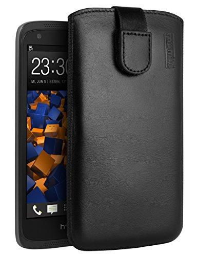 mumbi Echt Ledertasche kompatibel mit HTC Desire 526G Hülle Leder Tasche Case Wallet, schwarz