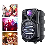 4YANG Macchina da Karaoke,Macchina per Karaoke all'aperto,Altoparlante Portatile con Microfono cablato,Illuminazione a Colori a LED, connessione Bluetooth,Adatto a Feste di Famiglia