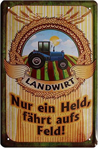 Boer - slechts een held rijdt op het veld. Tractor Bauer 20x30 cm metalen bord 545