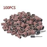 Schleifbandhülsen für Trommelschleifer mit 2 Gummidornen und Schleifpapier-Hülsen, Körnung 80/120, 1,3 mm und 6,35 mm, 100 Stück