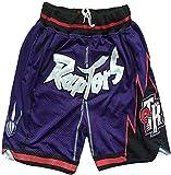 DCC Carter Restro Shorts Pantalones Cortos de Bolsillo con Cremallera Bordado Retro de Raptors Retro Bordado Pantalones Cortos de Baloncesto con cordón (Purple, S)