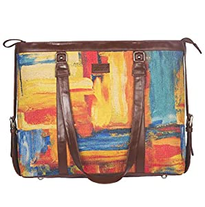 ZOUK Multicolor Abstract Printed Handmade Vegan Leather Women's Office Bag for 15.6 inch Laptop with double handles - Abstract Amaze