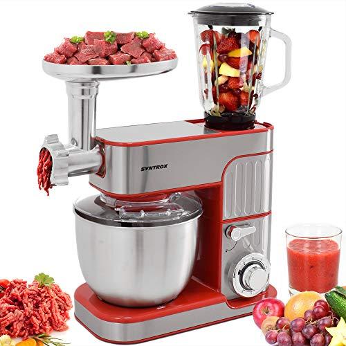 Syntrox Germany leistungsstarke Küchenmaschine Knetmaschine Mixer mit Fleischwolf in zeitlosem Design mit 5,5 Liter Fassungsvermögen, Inox rot