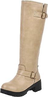 VulusValas Women Knee High Boots Zip