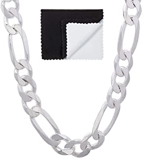قلادة بسلسلة فيجارو مسطحة من الفضة الإسترلينية 9.3 مم كبيرة الحجم للرجال 925، مقاس 76.2 سم + قطعة قماش مجوهرات وحقيبة