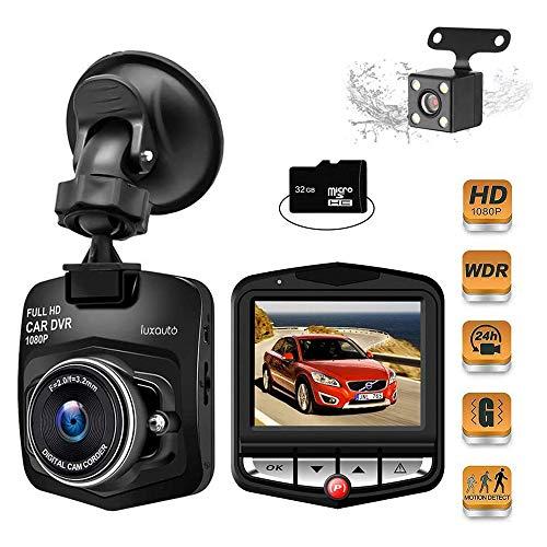 Telecamera per Auto, 1080P Full HD 2.4 Pollici Doppia Lente Dashcam Camera con Obiettivo Grandangolare di 170°, WDR, G-Sensor, Motion Detection, Registrazione in Loop Dashcam, Con Scheda SD da 32 GB