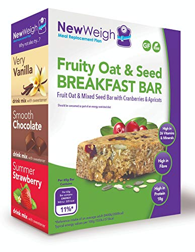 NewWeigh Fruity Oat & Seed Meal Replacement Breakfast Bar, 7 x 65g - Suitable for Coeliacs, Vegans & Vegetarians - High Fibre & High Protein