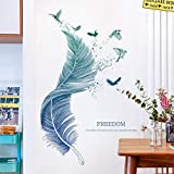 Feather Wall Mural Decal for Living Room, Wall Stickers as Wall Decor for Bedroom | 124cm x 72cm Removable Stickers for Walls Decoration as Housewarming Birthday