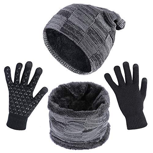 Opret Gorro Bufanda Guantes Set de Invierno para Hombre y Mujer, Unisex Gorras de Punto y Bufanda con Felpa y Guantes Tactiles (Gris)