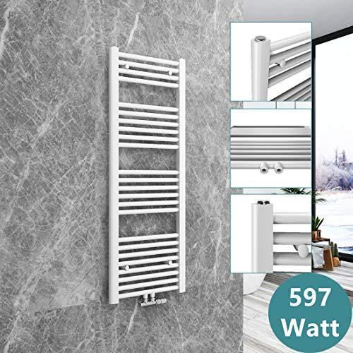 Badheizkörper Heizkörper 120 x 40 cm | 597 Watt Leistung Handtuchtrockner Heizkörper Bad Mittelanschluss, Horizontal Rohrdurchmesser: 22mm - Weiß