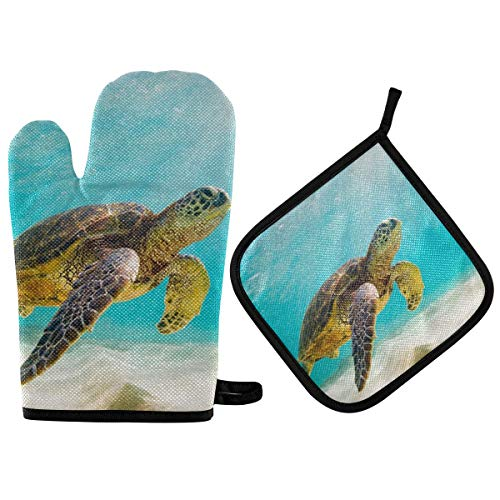 RURUTONG Oven Mitt and Pot Holder Sea Turtle with Cotton Soft Lining for Cooking BBQ Grilling 10.6 x 6.7in 2010220