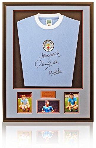 British Sports Museum Manchester City 1970 de Signée de la Main rétro pour Homme Marsh Tueart et Doyle