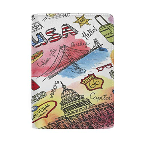 ATONO American Travel Symbols Doodle Landmark Lettering Vintage USA Artistic Texture Passport Covers Holder Case Storage Pocket PU Leather Microfiber 6.5'' X 4.5''Travel Wallets for Men & Women