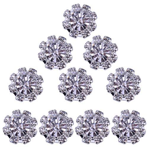 10pcs 0,47 Pouces Cristal Fleur embellissements Strass Boutons Dos Plat décor Alliage Acrylique