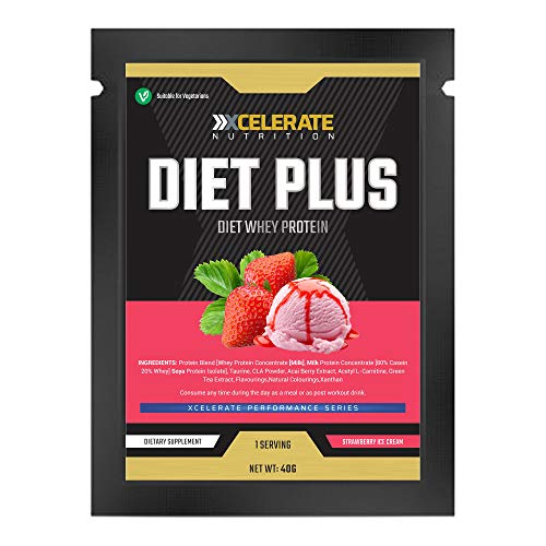 XCelerate Nutrition Diet Shake 20 Sachets Powder Shakes for Weight Loss for Women Men Low Calories Sugar Whey Protein Ultralean Lean Meal Replacement Shake (Strawberry, 20 x Sachets)
