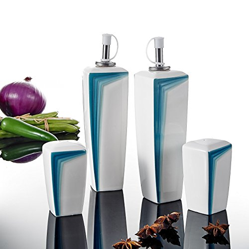 MALACASA, Serie Rebeca, 4 Stück Gewürzspender – 2 Öl/Essig und 2 Salz-/Pfefferstreuer aus Porzellan, Küchenwerkzeug, für Sauce, Aufbewahrung von Lebensmitteln (Blau)