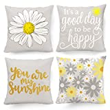 Hexagram Decorative Set of 4 Throw Pillow Covers Yellow and Grey, Pillow Covers 18 x 18 Sunflower Room Decor for Living Room Couch Cushion Bed Indoor Outdoor Yellow and Gray Home Decor