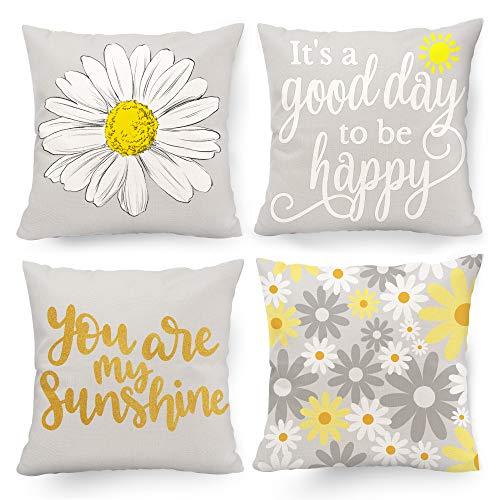 Hexagram Juego de 4 fundas de almohada decorativas amarillas y grises, fundas de almohada de 45,7 x 45,7 cm para decoración de sala de estar, sofá, cama, interior y exterior, color amarillo y gris