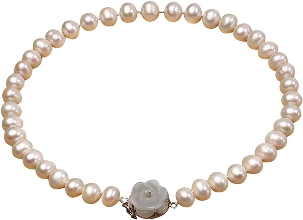 JYX Pearl Natural White Freshwater Pearl Single Strand Necklace 10-11mm Flat Round Pearl Choker 17