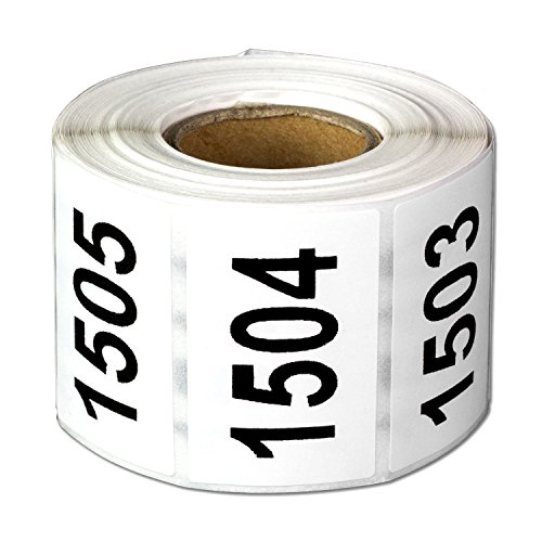 """Consecutive Number Labels Self Adhesive Stickers""""1501 to 2000"""" (White Black / 1.5 x 1 Inch) - 500 Labels Per Pack"""