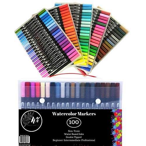 Watercolor Marker 100 Colors Set | Double Tips Bright Bold Capacity | Sturdy Plastic Carry Case Included | Professional and Beginner Friendly