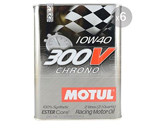 Motul 10W-40 Chrono - Aceite sintético para motor de coche, 300 V, 6 x 2 litros