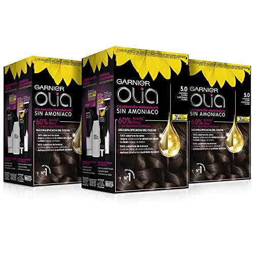 Garnier Olia - Pack de 3 coloración permanente sin amoniaco para un olor agradable con aceites florales de origen natural, color tono 5.0 castaño claro