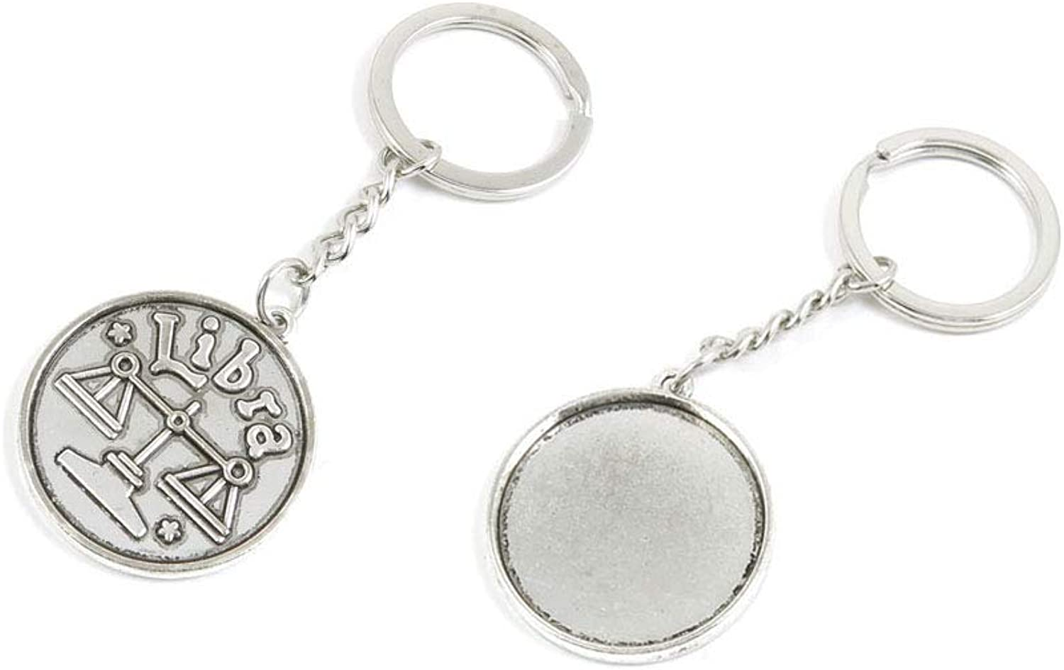 100 PCS Antique Silver Keyrings Keychains Key Ring Chains Tags Clasps I6WM1 Aquarius Round Cabochon Setting Blank