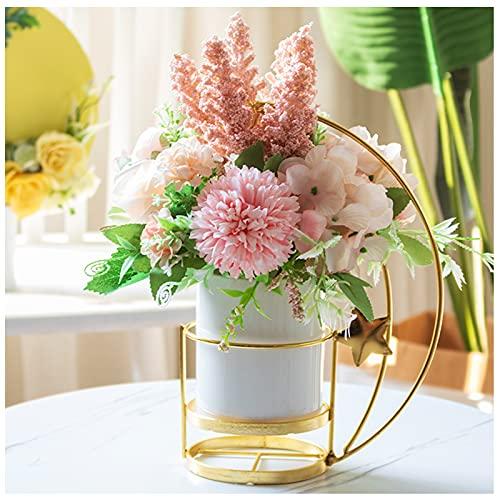 WDDLD Flores De Seda Artificial En Jarrones, Plantas Artificiales Y Arreglos Florales De Rosas, Macetas De CeráMica, Utilizadas para La DecoracióN De Interiores De La Oficina En Casa