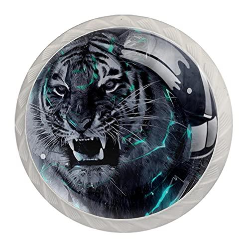 (4 piezas) pomos de cajón para cajones, tiradores de cristal para gabinete, casero, oficina, armario, fantasía, patrón de tigre blanco, 35 mm