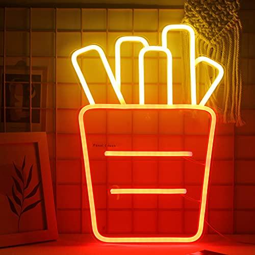 Pommes Frites Leuchtreklamen Led Leuchtschilder Acryl Neonlicht für Unternehmen Rot Neonschild Wandkunst für Schlafzimmer Küche Esswagen Party Dekoration