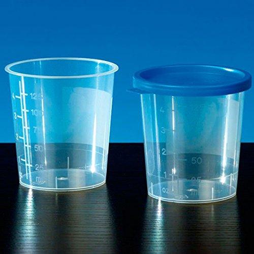 Servoprax A8 7003 Urinbecher mit blauem Schnappdeckel, Unsteril, 125 mL Volumen (500 er-Pack)