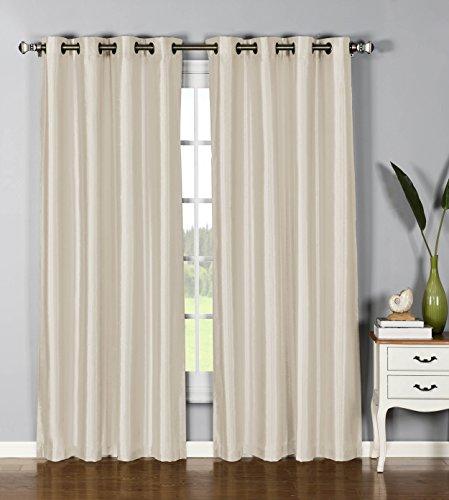 Window Elements Jane Faux Silk Grommet Curtain Panel Pair, 76x84, Beige