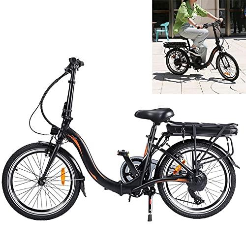 Bicicleta electrica Plegable Conduce a una Velocidad máxima de 25 km/h. Bicicleas Capacidad de la batería de Iones de Litio (AH) 10AH Bici electrica Tamaño de neumático 20 Pulgadas, Negro